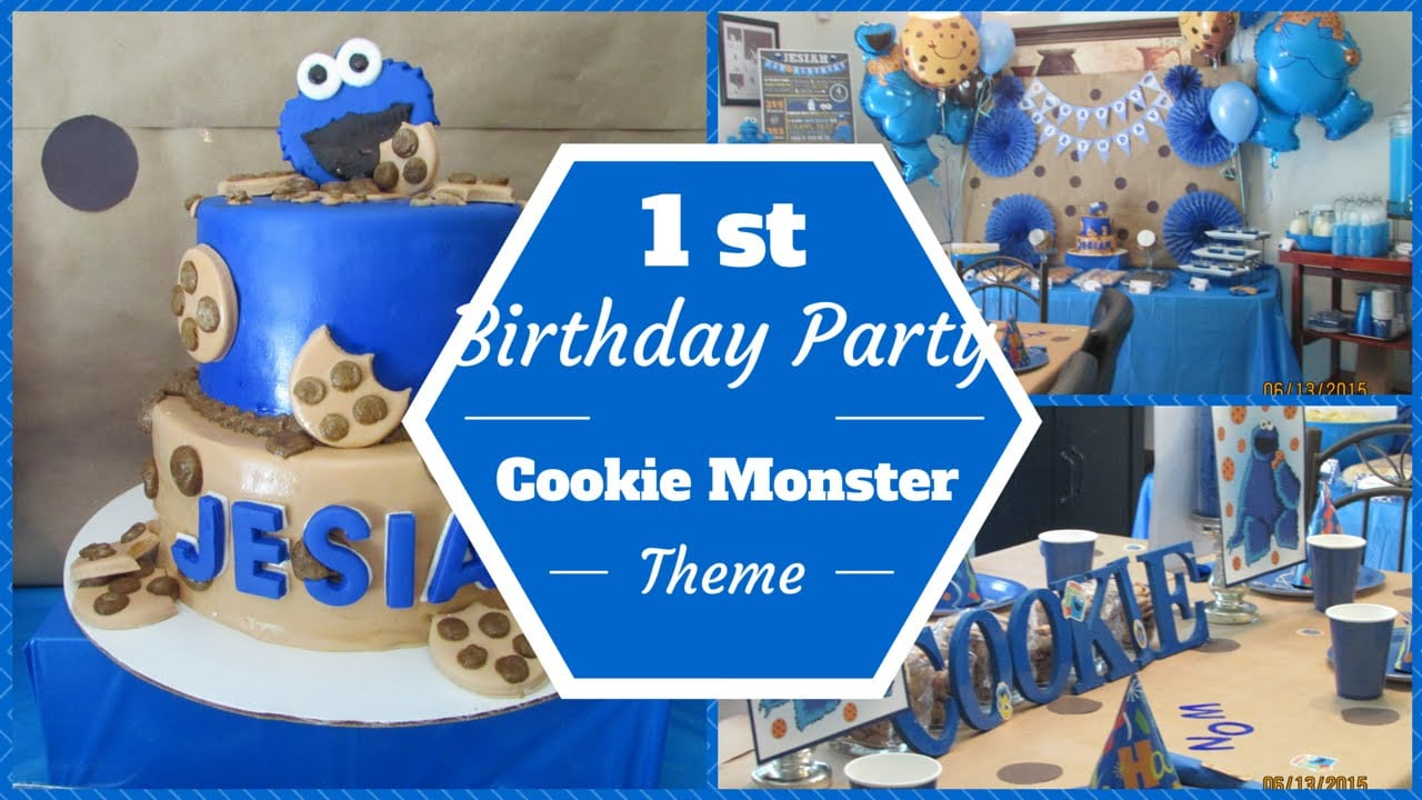 Cookie Monster Theme 1st Birthday Party ~dollar Tree & Mickey Mouse Invitations Templates