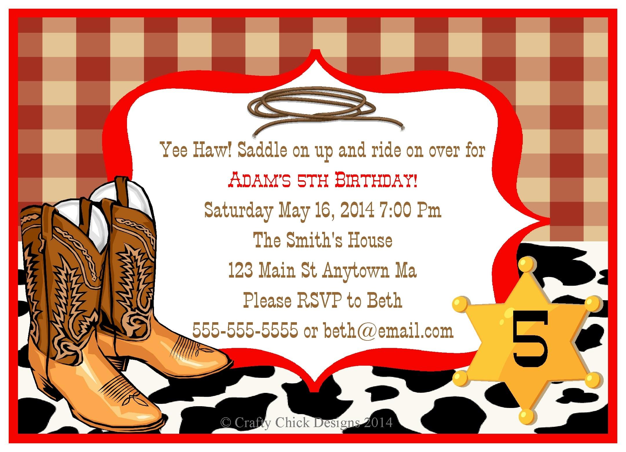 Cowboy Birthday Party Invitation Template Cowboy Birthday