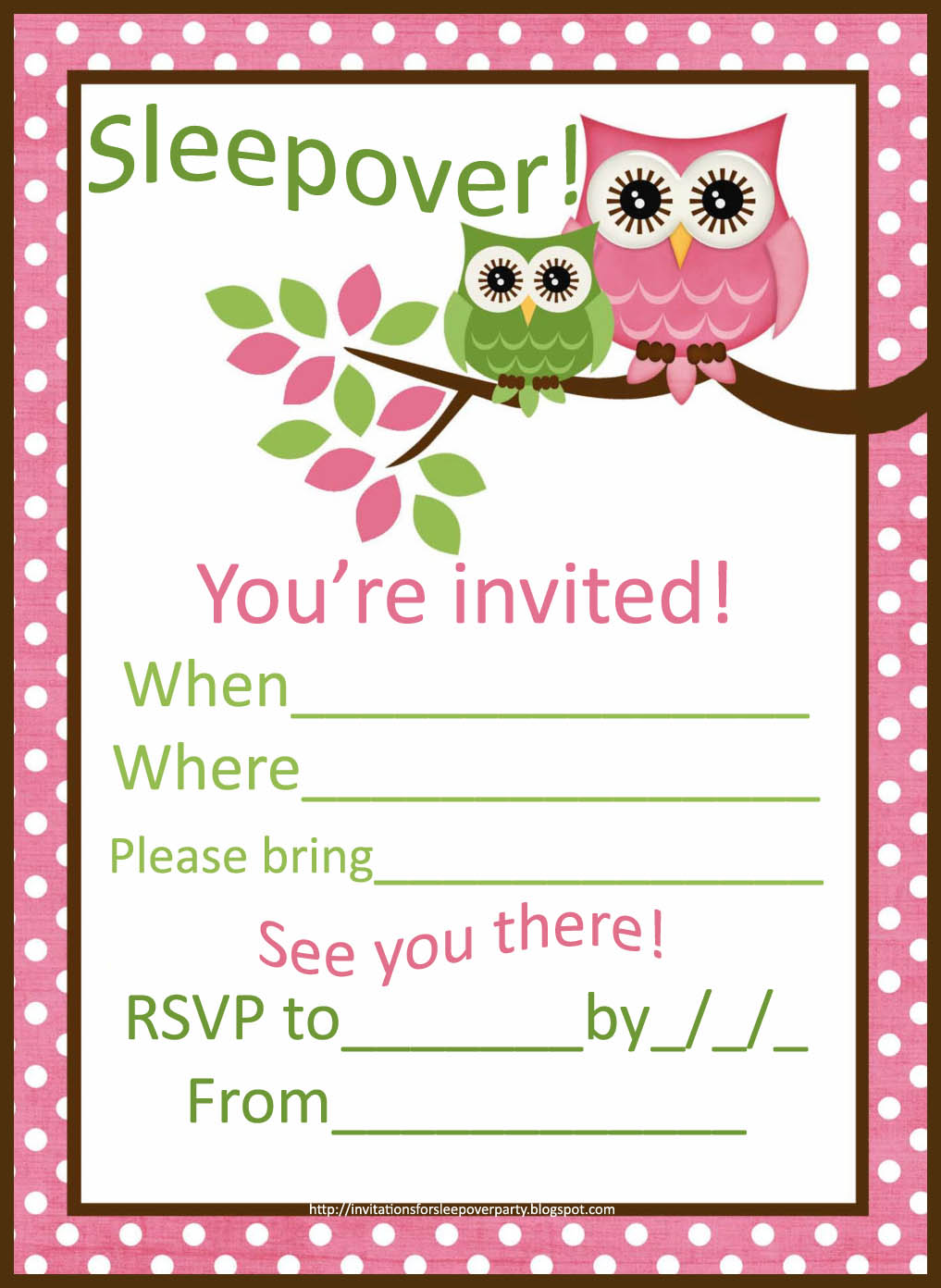 Cute Sleepover Invitations