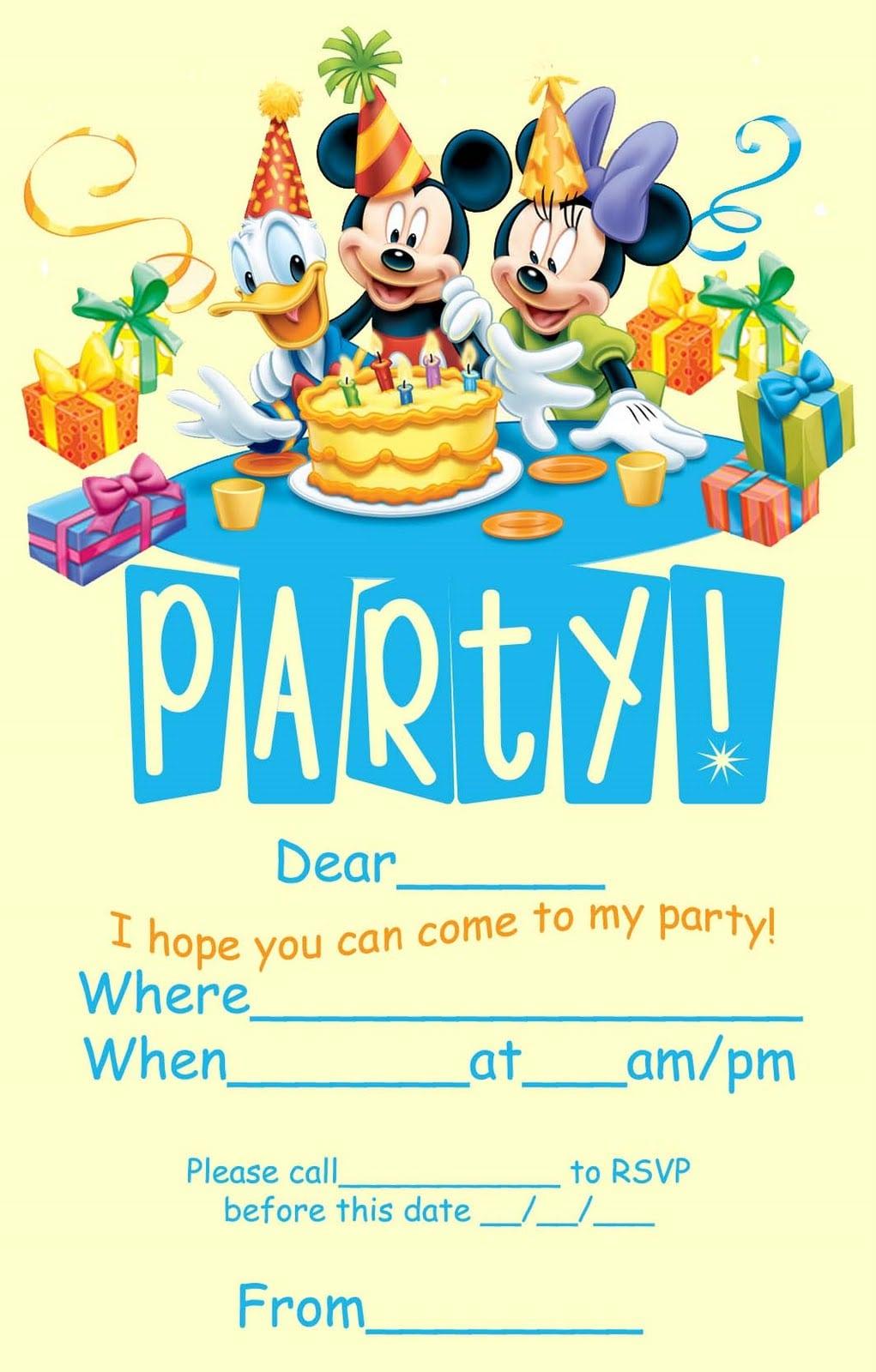 Disney Birthday Party Invitations