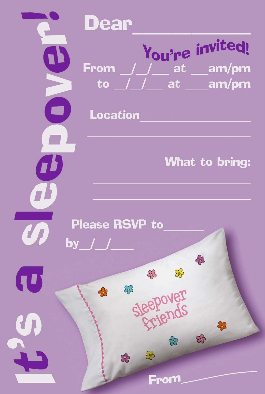 Free Printable Girls Slumber Party Invitations