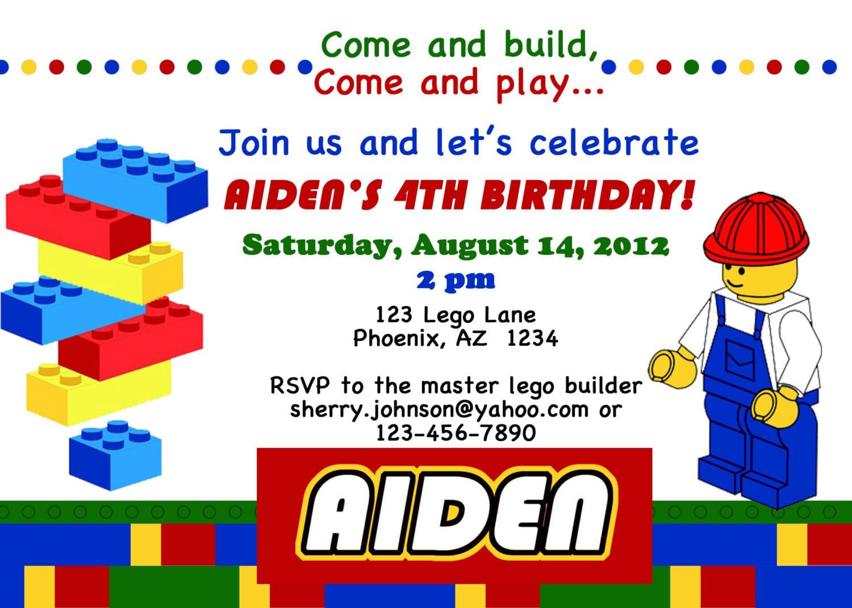 Free Printable Lego Invitations