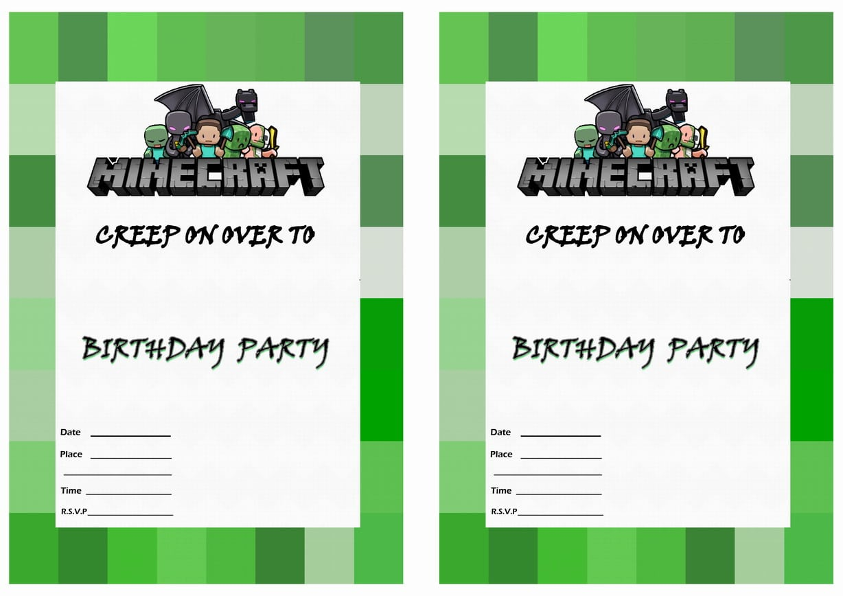 Free Printable Minecraft Party Invitations