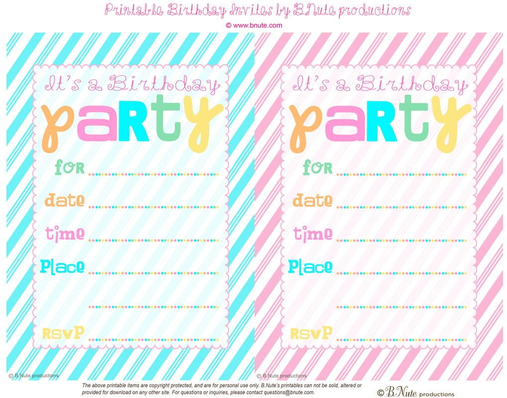 Free Printable Party Invitations For Kids