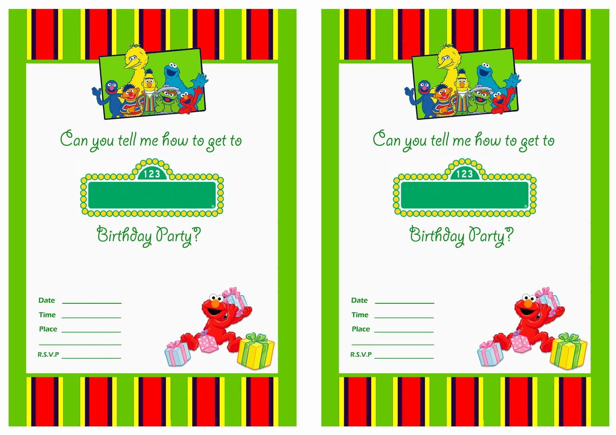 Sesame Street Party Invitations Personalized