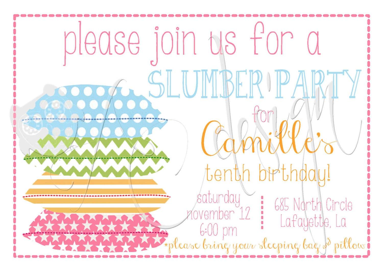 Free Printable Slumber Party Invitations Girls