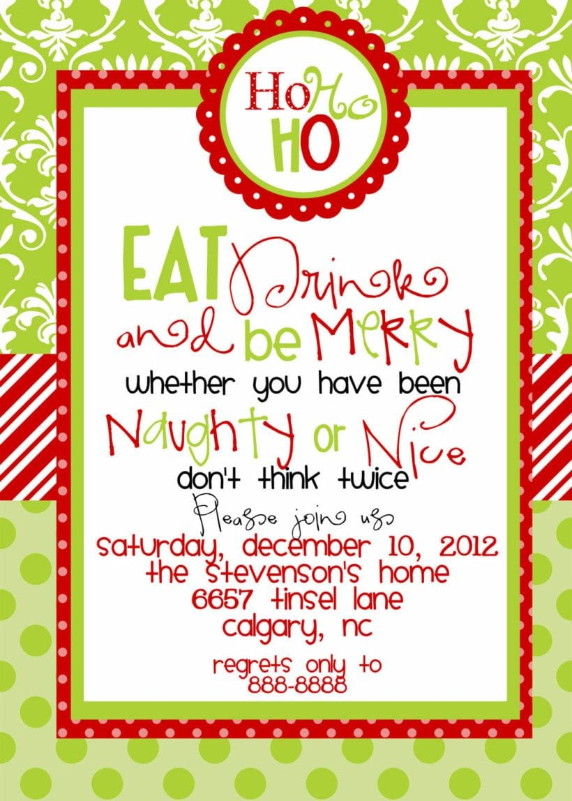 Funny Christmas Party Invitations Wording