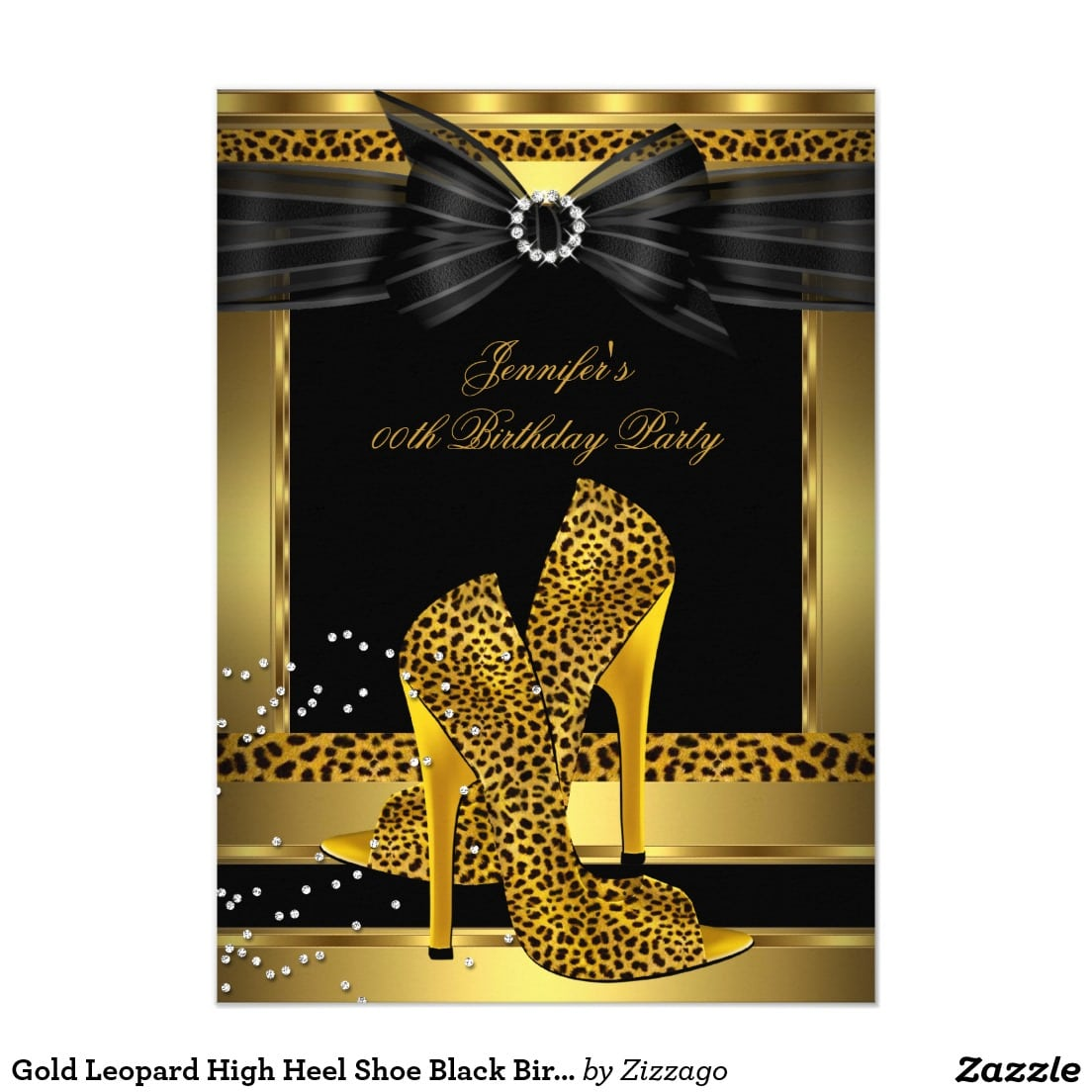 Gold Leopard High Heel Shoe Black Birthday Party 4 5x6 25 Paper