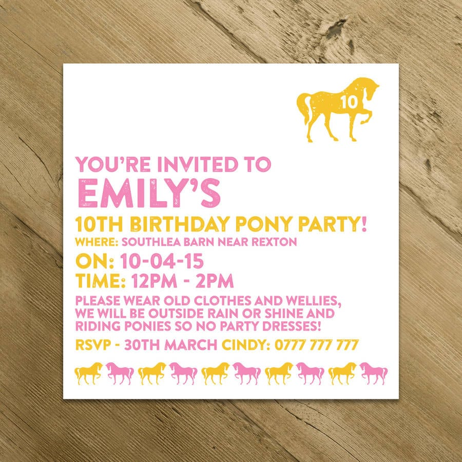 Horse And Pony Party Invitations By A Is For Alphabet