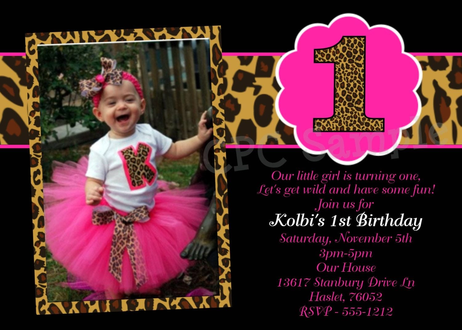 Hot Pink Leopard 1st Birthday Invitation, Use For Any Age
