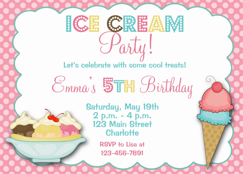 Ice Cream Birthday Party Invitation Ice Cream Birthday Ice Cream
