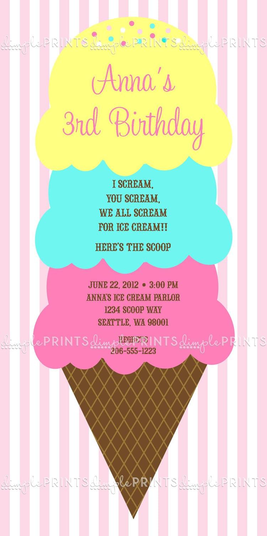Ice Cream Scoops Printable Party Invite