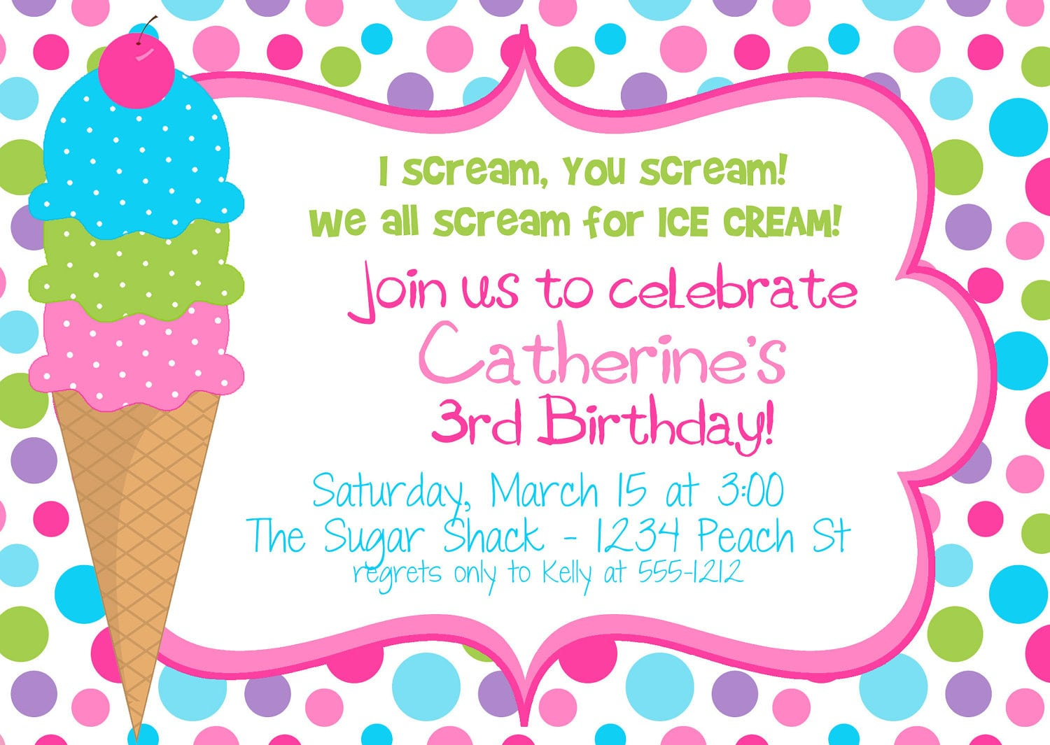 Ice Cream Themed Birthday Party Invitation With Colorful Polka Dot
