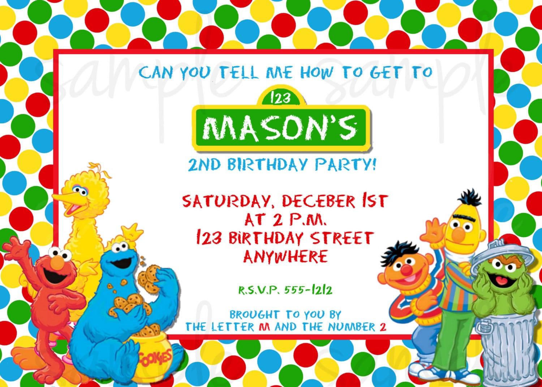 Incredible Sesame Street Birthday Invitations As Custom Birthday