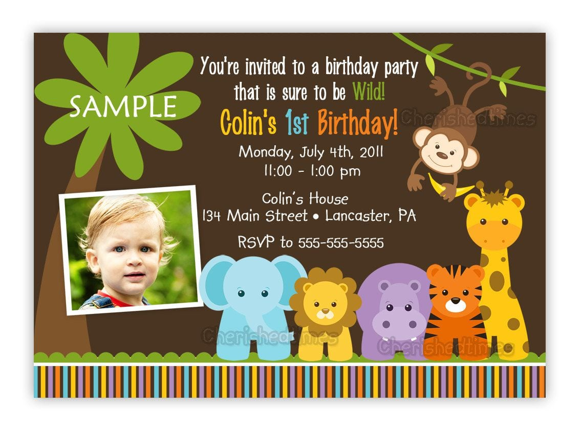 Jungle Themed 1st Birthday Invitations   Jungle Themed 1st