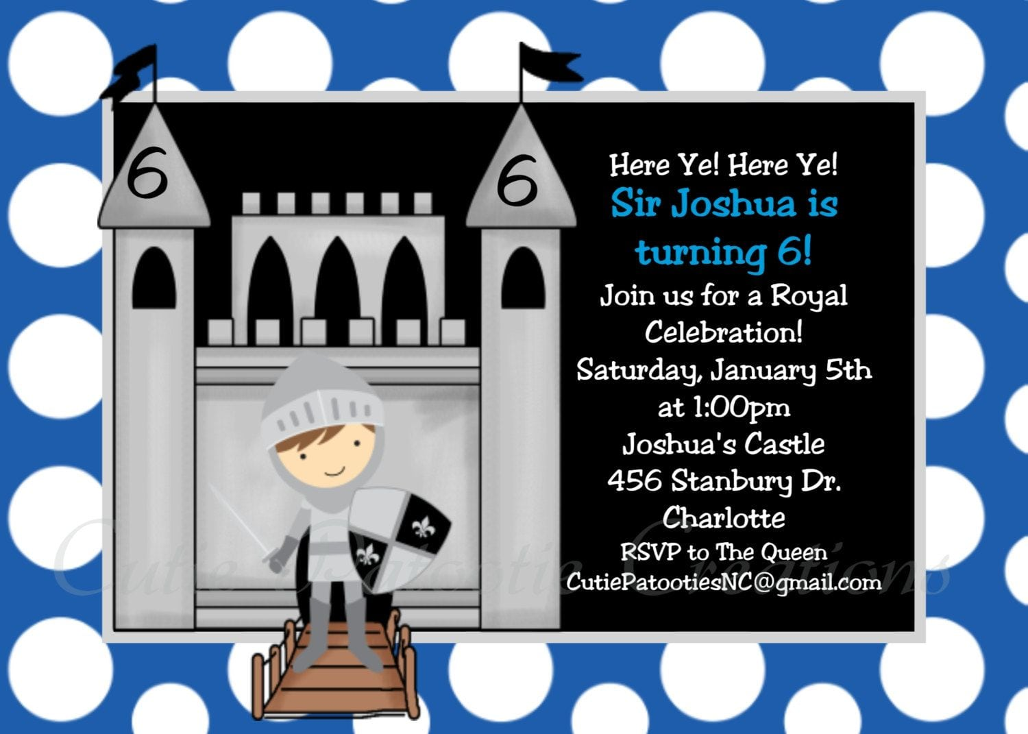 Knight Birthday Invitation Knight Birthday Party Invitation