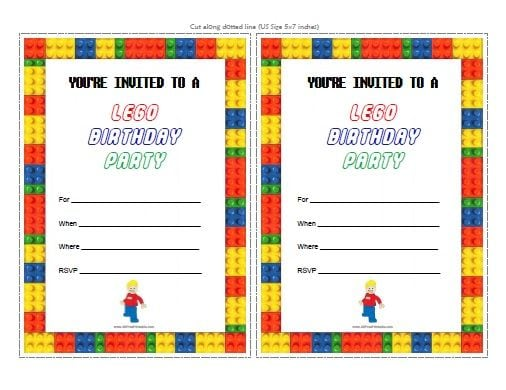 Lego Birthday Party Invitations Free Printable High Resolution
