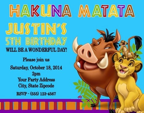Lion King Birthday Invitations Lion King Birthday Invitations