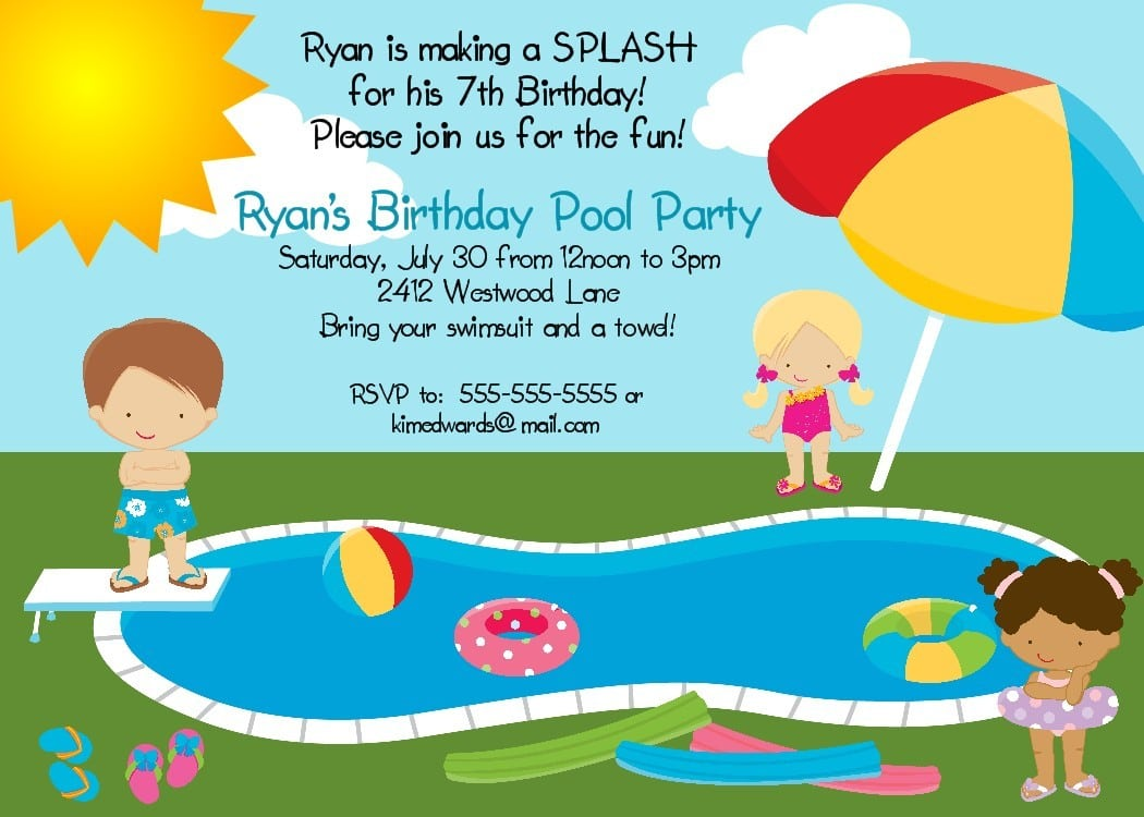 Marvellous Printable Pool Party Invitations To Create Your Own