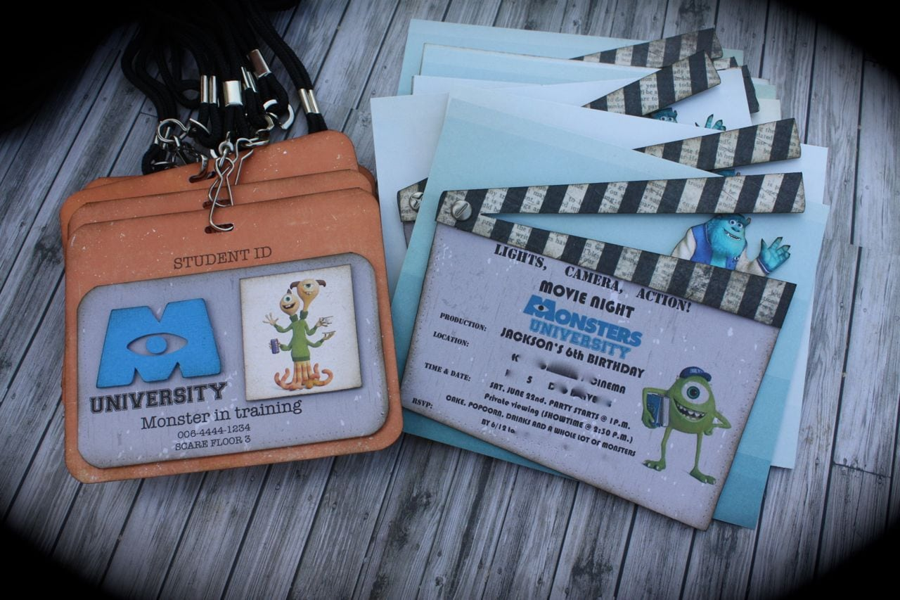Monsters University Invitation And Id Tag Set