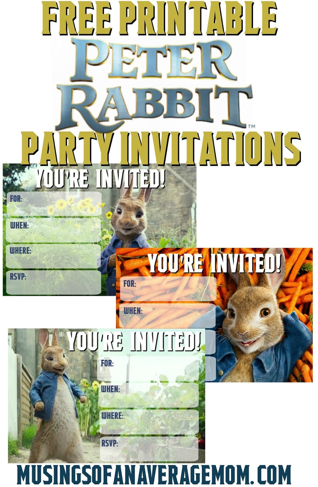 Musings Of An Average Mom  Peter Rabbit Movie Invitations