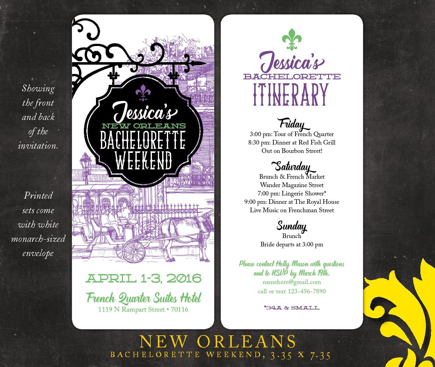 Nealon Design  New Orleans   Bachelorette Weekend Invitation