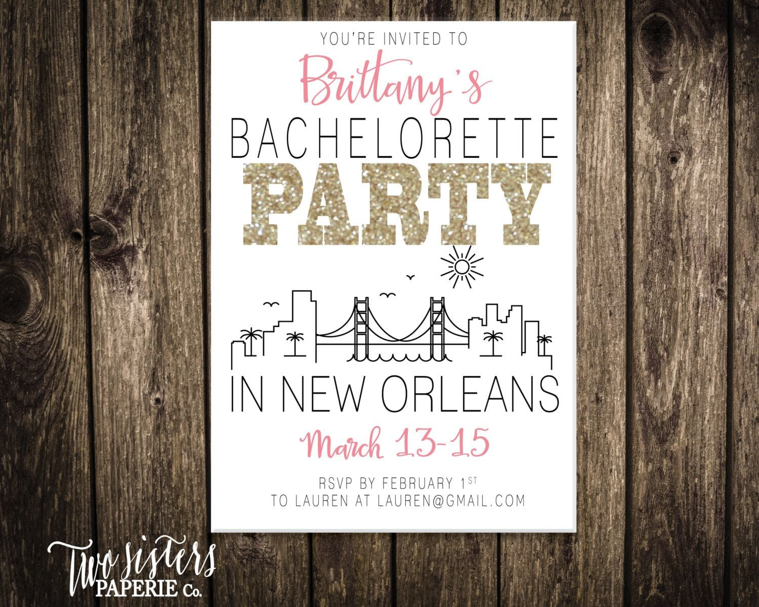 New Orleans Bachelorette Party Invitation And Itinerary