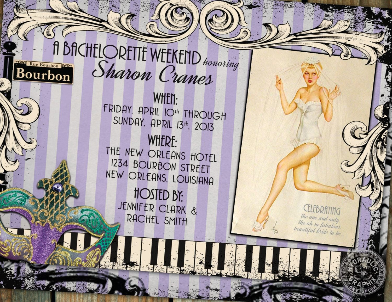 New Orleans Bachelorette Party Invitation, Retro Pinup, Lingerie