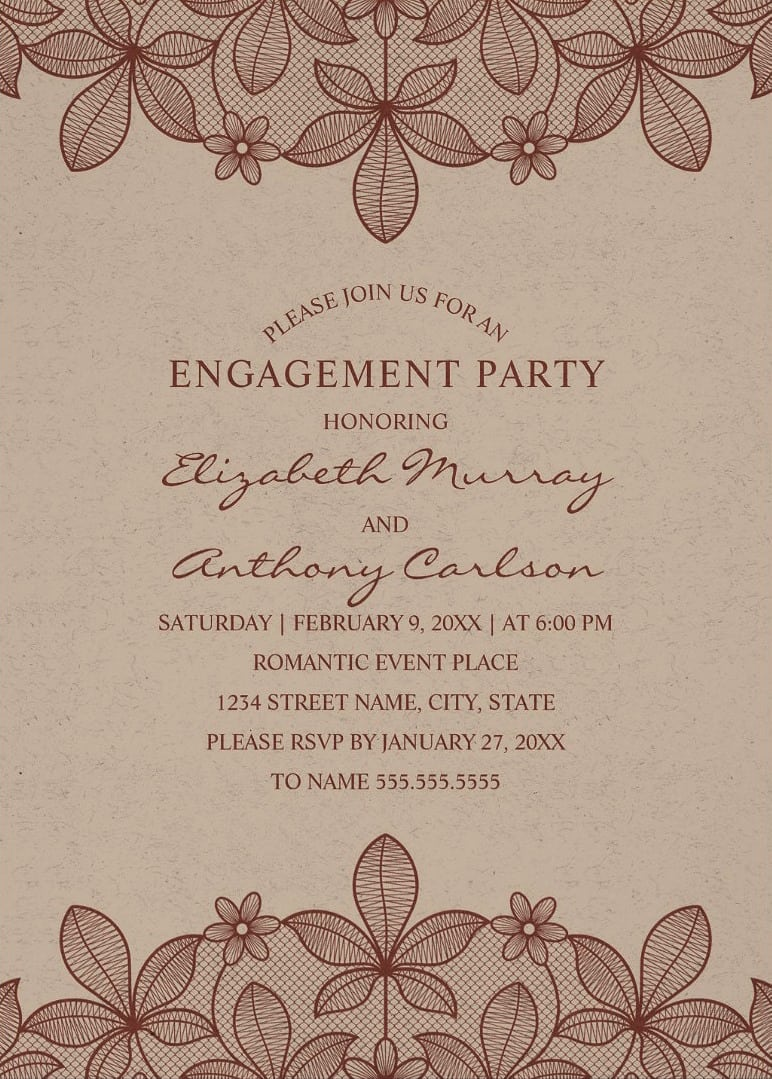 Paper Rustic Engagement Party Invitations