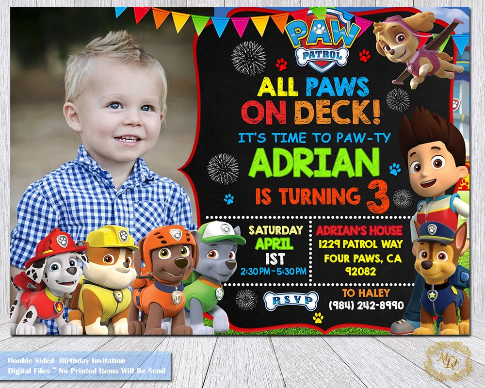 Paw Patrol Birthday Invitation Paw Patrol Invitation Paw Patrol
