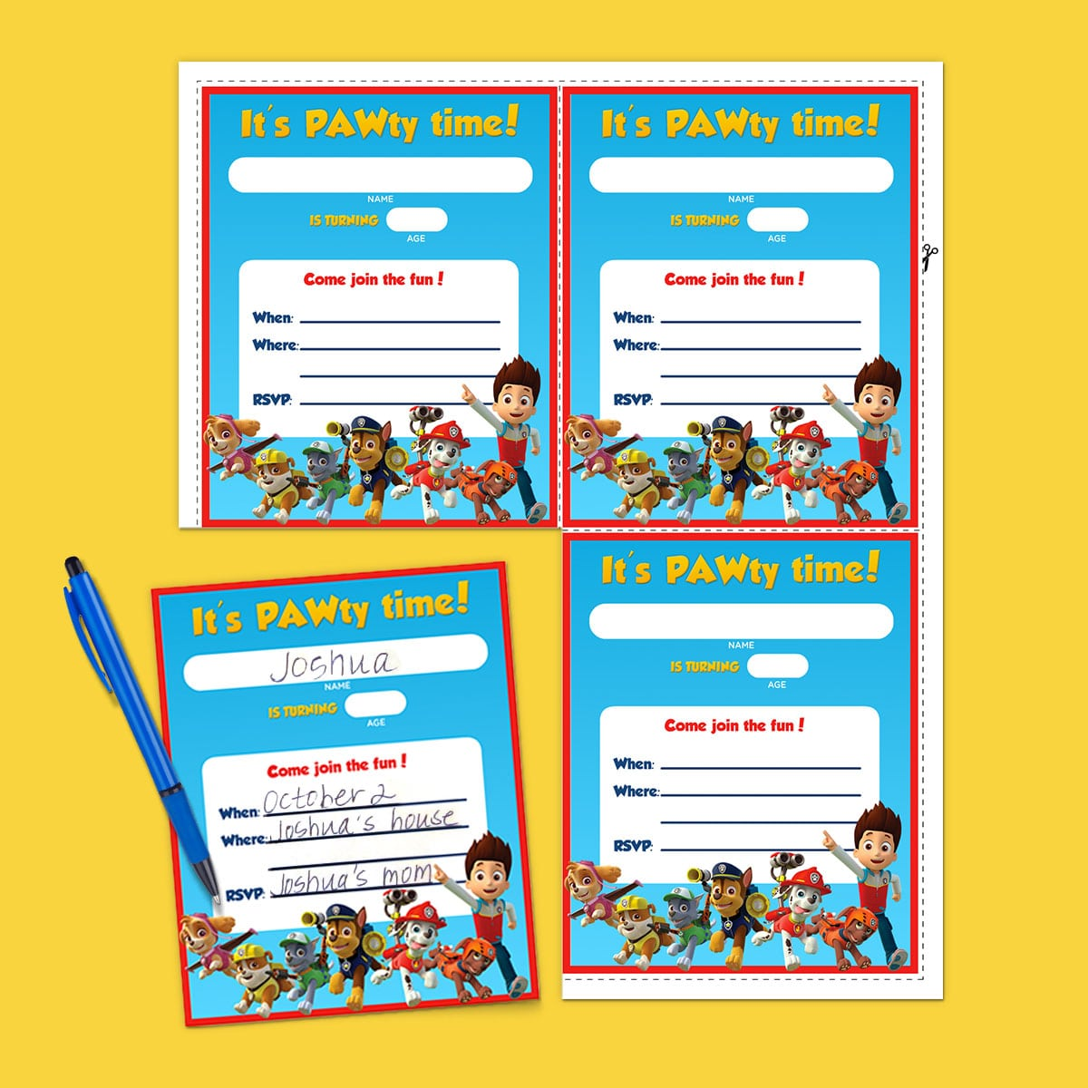 Paw Patrol Birthday Party Invitations