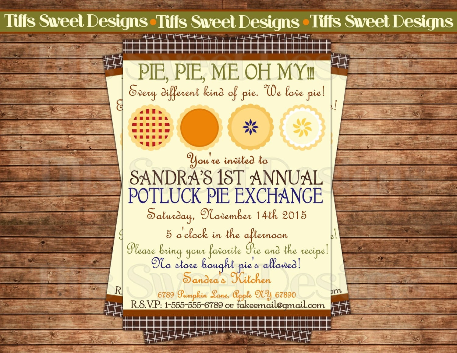 Pie Party Invitations