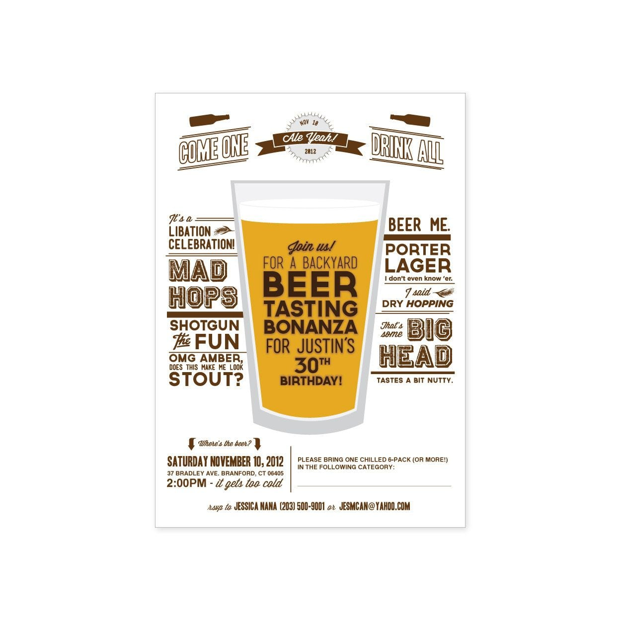 Printable Beer Tasting Party Invitation  $15 20, Via Etsy