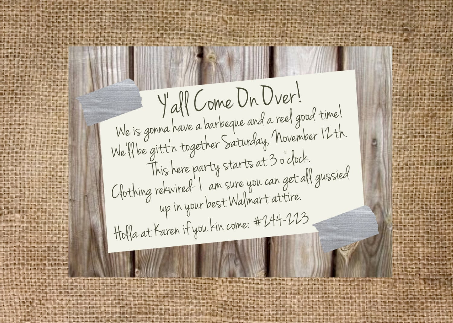 Redneck Party Invitation Personalized And By Kmcustomcreations