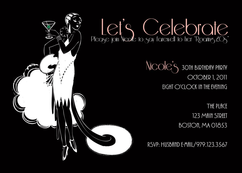 Roaring 20's Flapper 30th Birthday Invitation  $15 00, Via Etsy