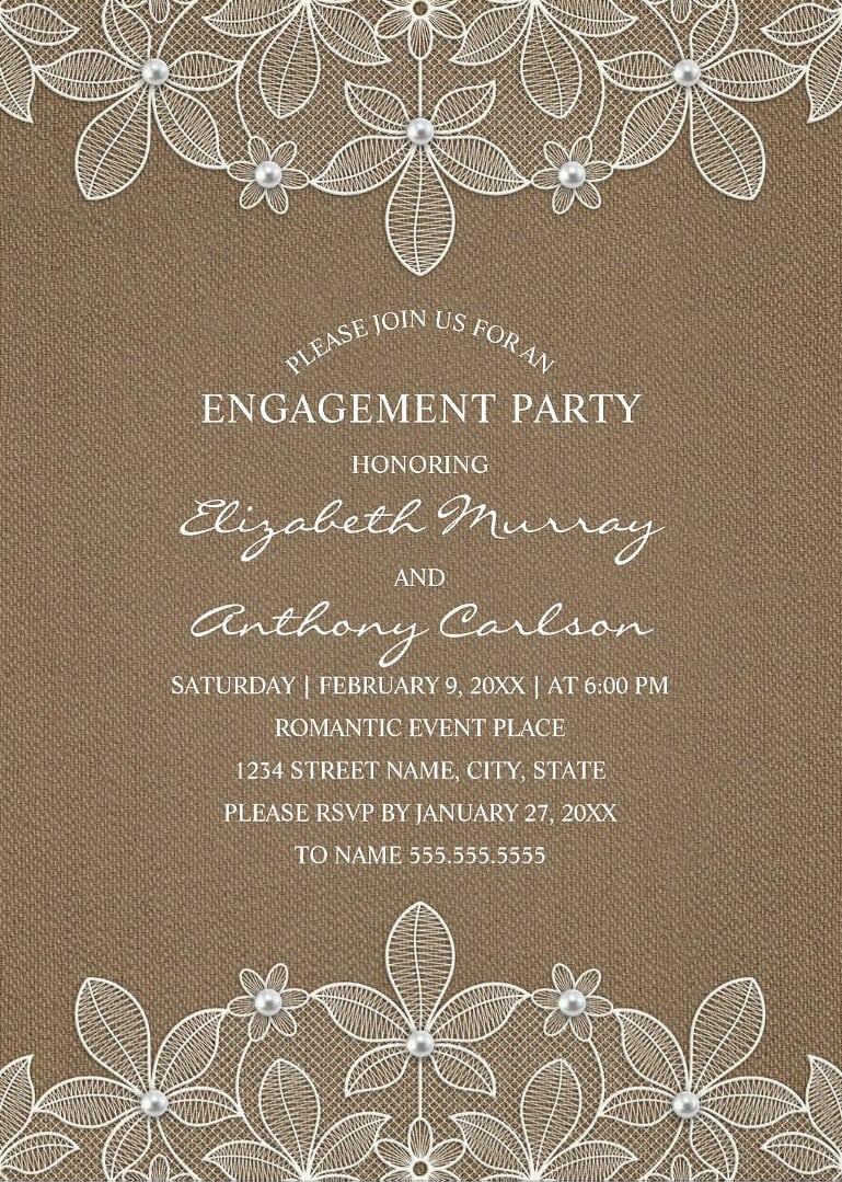 Rustic Burlap Engagement Party Invitations