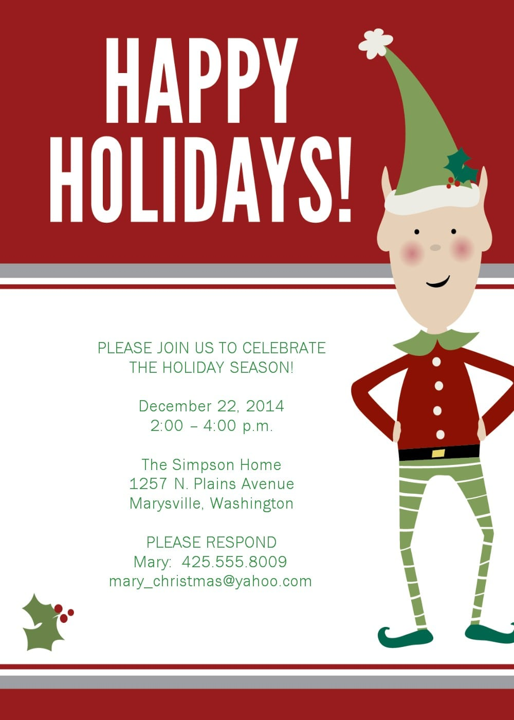 Sample Christmas Dinner Invitation – Fun For Christmas