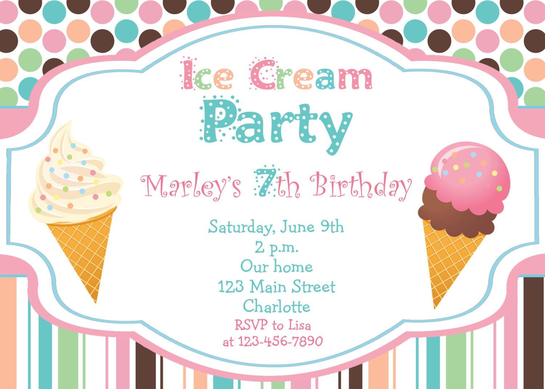 Simple Ice Cream Birthday Invitations As Prepossessing Ideas