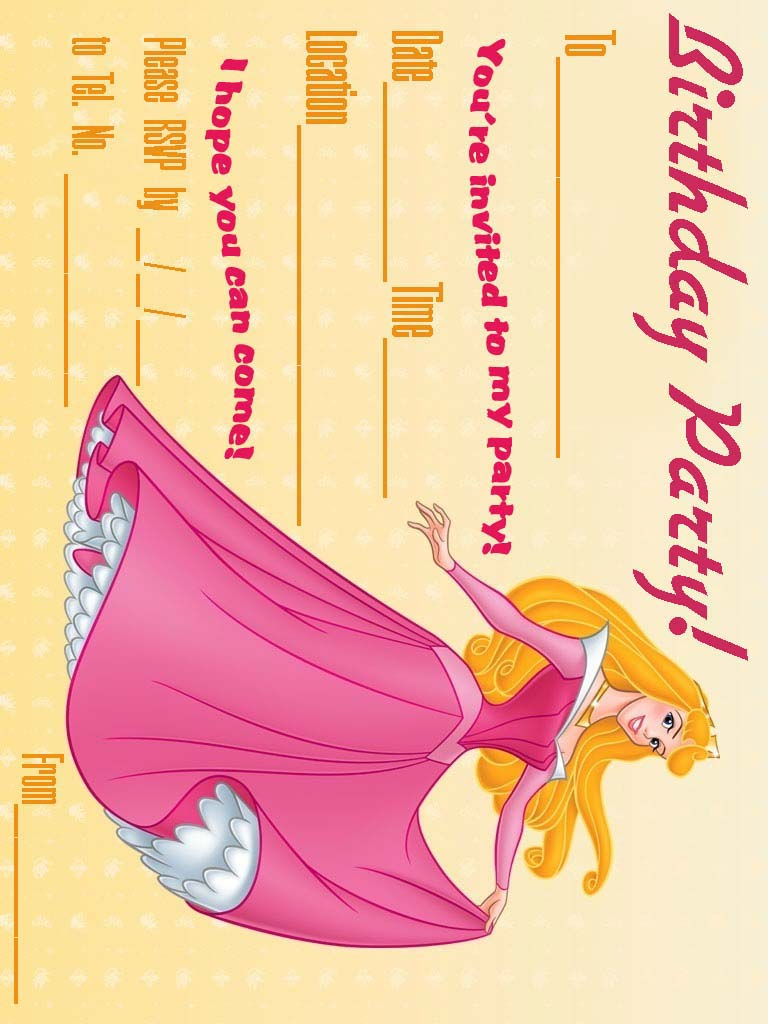 Sleeping Beauty Party Invitations