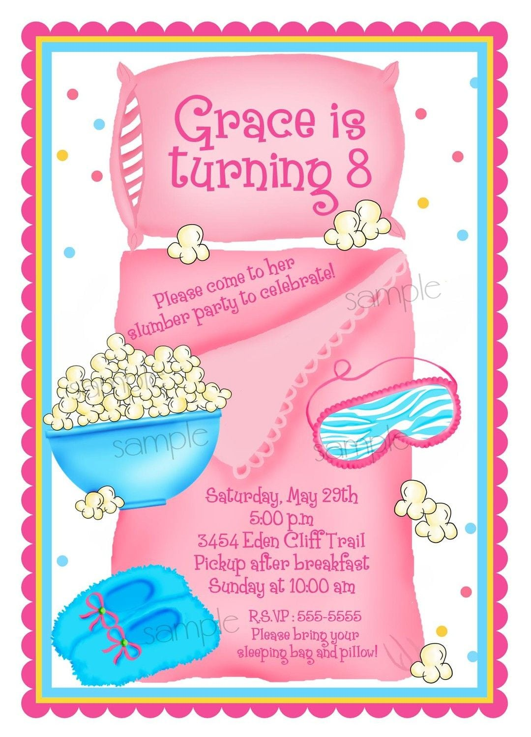 Sleepover Invitations, Sleepover, Slumber Party, Personalized