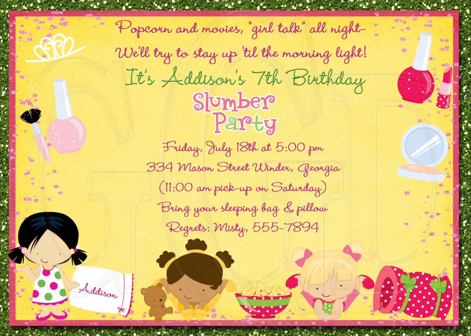 Slumber Or Pajama Party Invitation Designed By Graciegirldesigns77