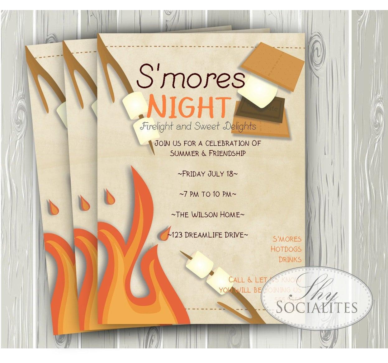 S'mores Invitation Smores Camping Invitation Campfire
