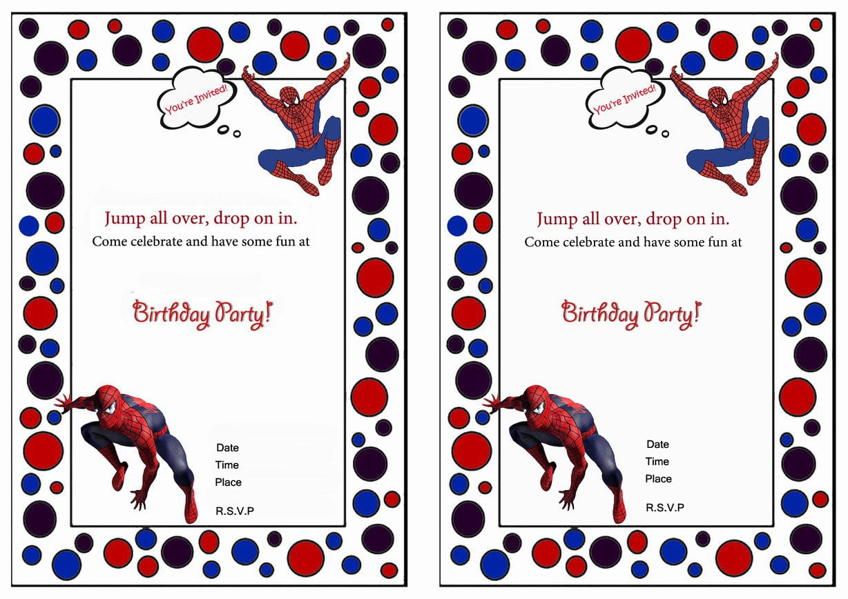 Free printable spiderman birthday party invitations filmwisefo