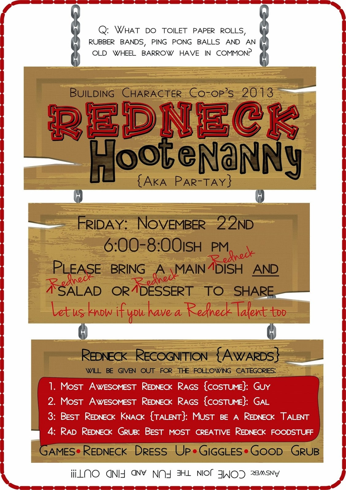 Sublimeliving  Family Redneck Hootenanny Party Planning  A Night