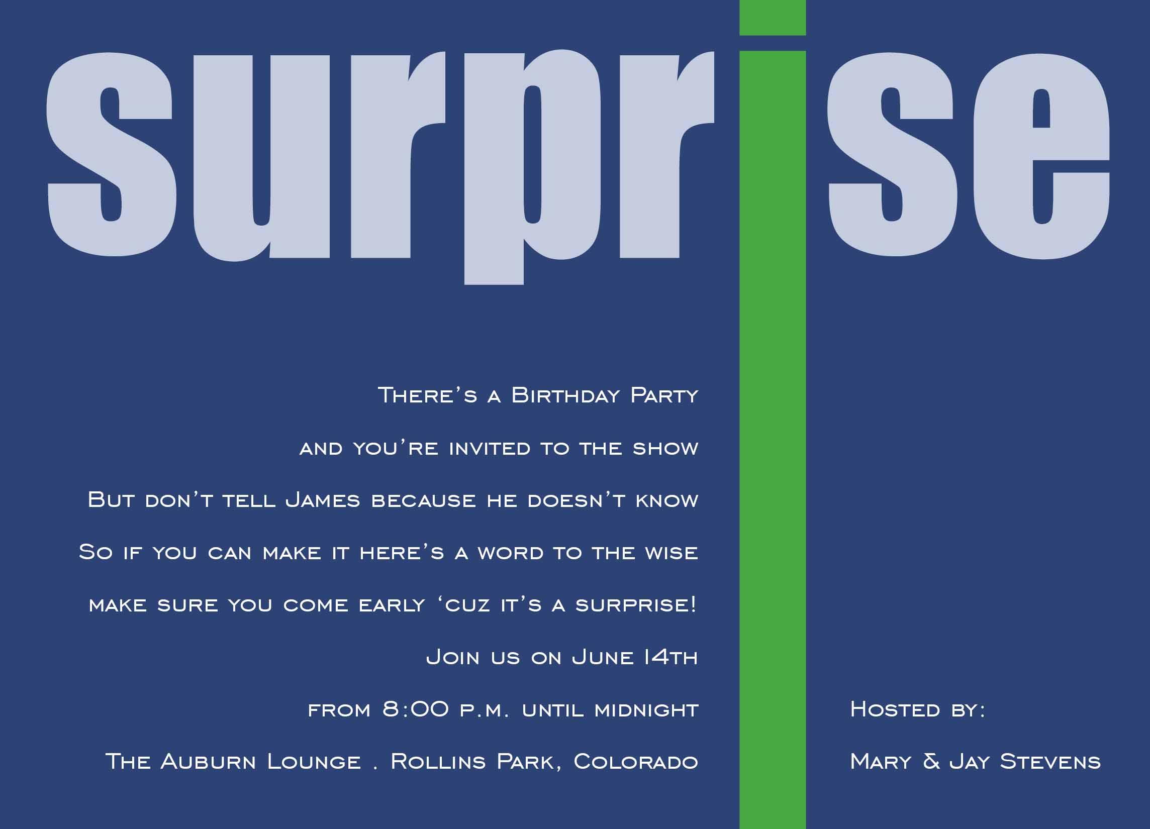 Surprise Birthday Party Invites