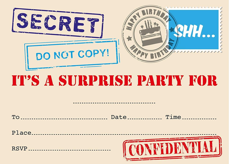 Surprise Party Invitation, Top Secret Stamp Designs, Packs Of 16