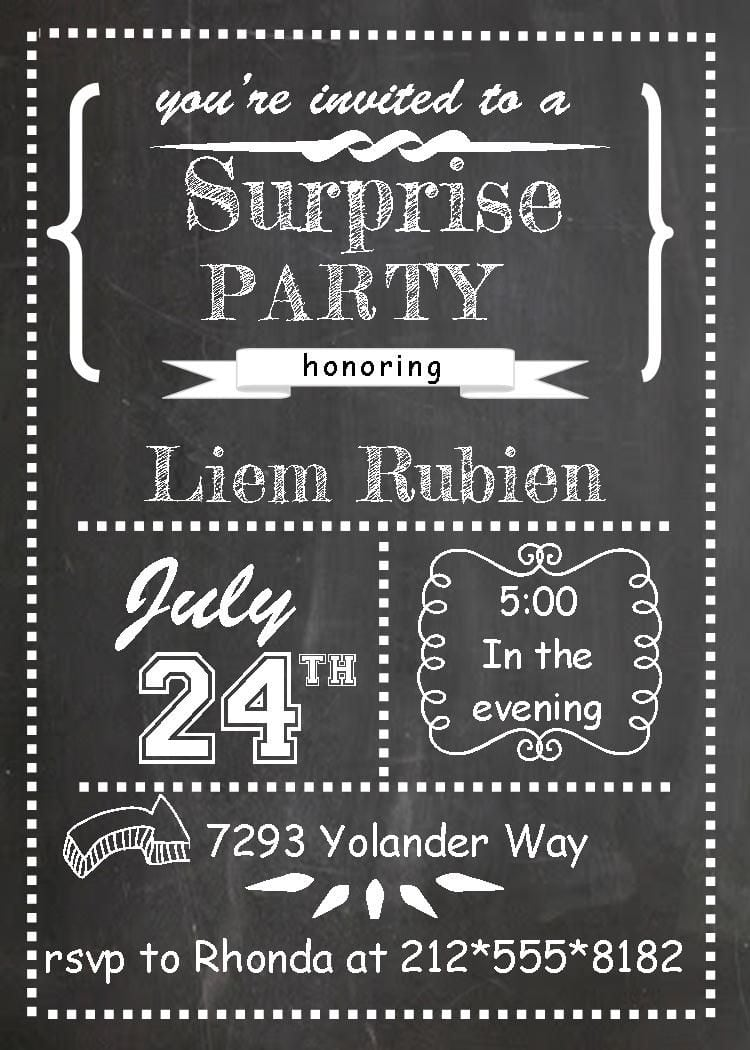 Surprise Party Invitations Chalkboard