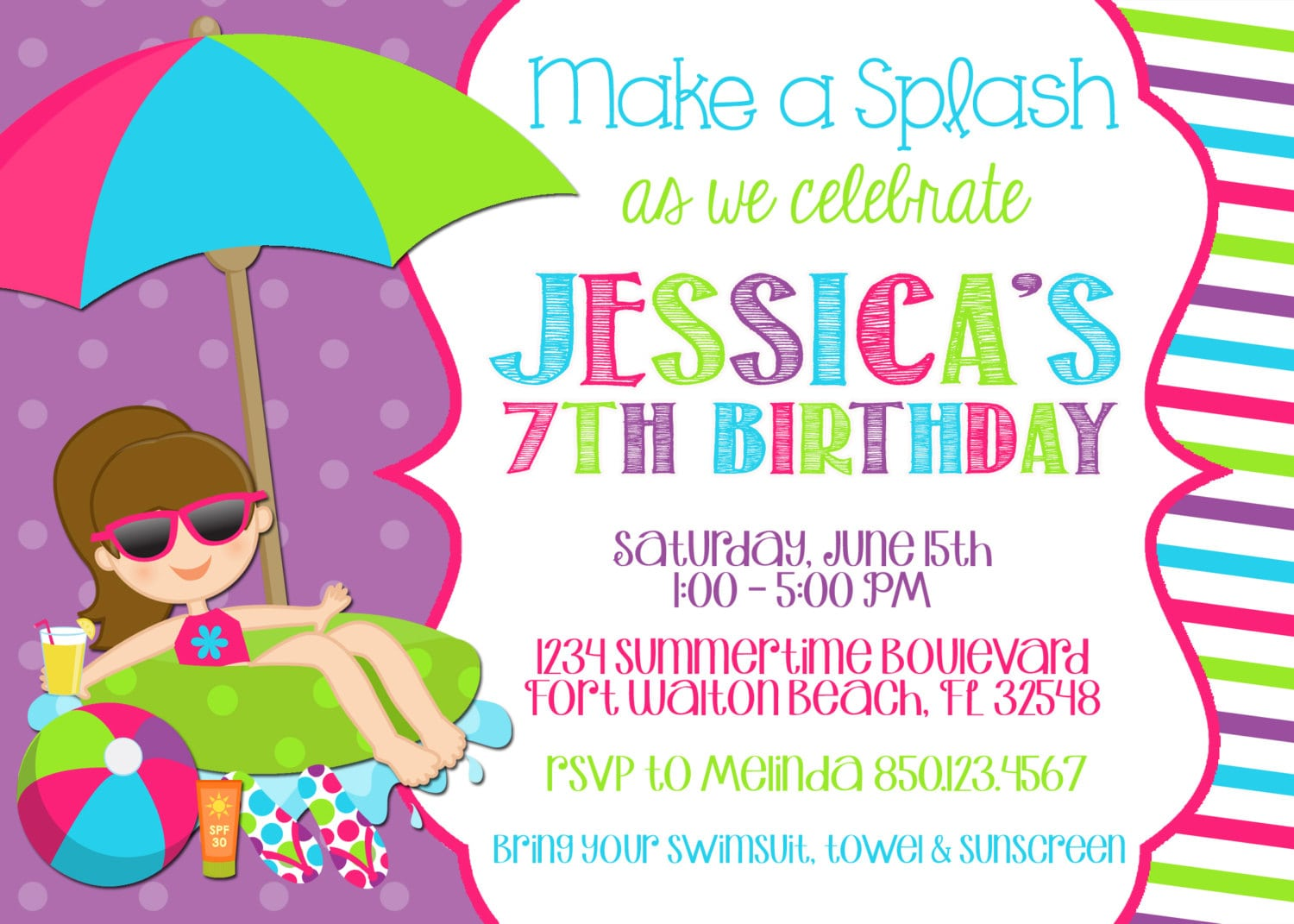Swimming Pool Party Invitation Template
