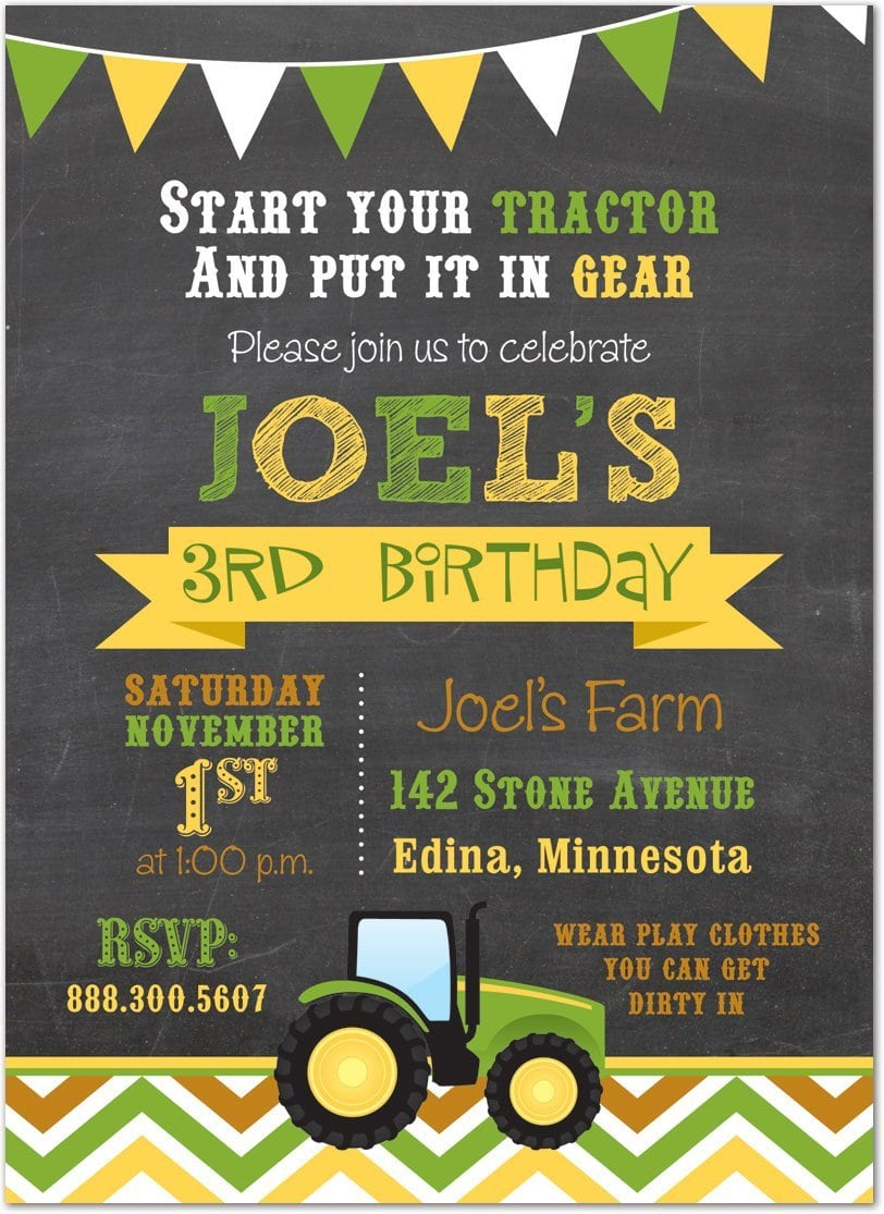 Tractor Birthday Party Invitations