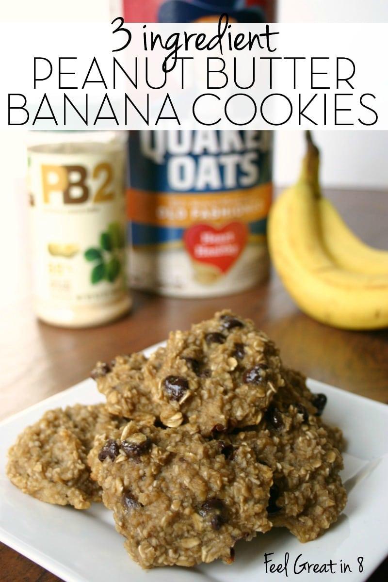 3 Ingredient Peanut Butter Banana Cookies